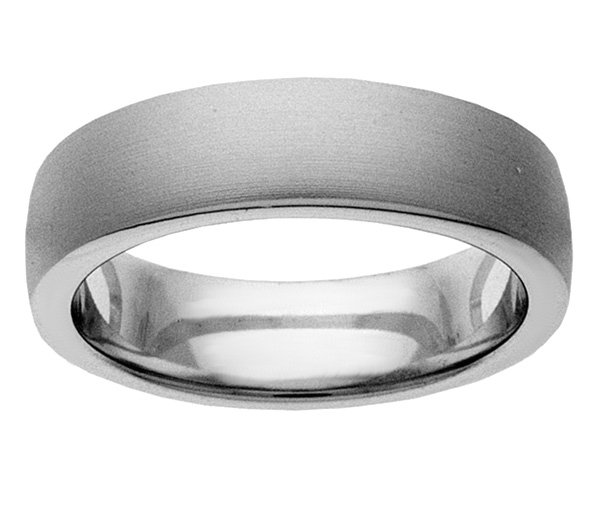 Plain Brushed Wedding Band Ring in White Gold
