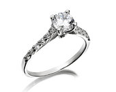 Sterling Silver 6MM Round Brilliant Cut Cubic Zirconia Solitaire Ring with Zirconia Studded Band