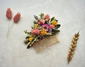 Spring Meadow Dried Flower Hair Comb in Pink and Yellow Bridal Hair Comb Floral Hair Slide Bridal Hair Slide Bridal Headpiece