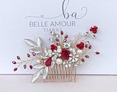 Flower hair comb, Bridal hair piece, Wedding hair flowers, Red crystal, Red wedding comb, Bridal hair accessories, Brides headpiece