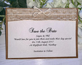 Save The Date Wedding Cards Rustic Burlap Hessian with Vintage Lace (Tying the Knot) Rustic Collection