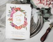 Gold and floral wedding invitation, watercolour wedding invite, boho wedding, rustic wedding, colourful wedding invite, garden wedding