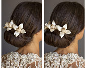 3 Ivory flower hair pin, cream hair flower for bride headpiece, the perfect wedding hair accessory