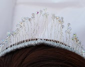 Silver AB czech crystal wedding bridal tiara