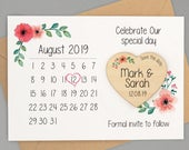 Save The Date Magnet Calendar Personalised Save The Date Calendar Card with Envelope Save The Date Wooden Heart Magnet Calendar