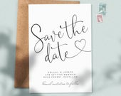 Heart Save the Date Cards, Save the Date Postcard, Modern Save the Date, Personalised Save the Dates, Wedding Save the Dates Simple 082