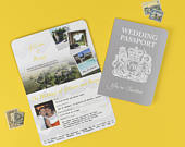 Grey and Yellow Chevron British Passport Invitation ready for you to personalise to suit your theme perfectly!