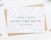 Elegant Save The Date Card, Lace Save The Date Card, Traditional Save The Date Card, Pretty Wedding Invitation, Simple Save The Date