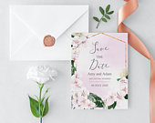 Floral Save The Date Template with Watercolor Orchids, Elegant, INSTANT Download, Editable, Printable Templett Suite
