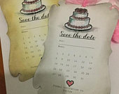 Handmade Save The Date Wedding Notifications Set of 10 White/Vintage Style