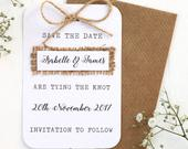 Rustic, Burlap, Hessian and Twine Bow Save the Date Card Barn Wedding, Country Wedding