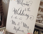 1 Personalised Rustic/Shabby Chic A3 Fancy Font Wedding Welcome Boardbacked or unbacked FREE UK POSTAGE