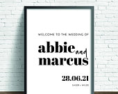 Printed or Digital Classic Modern Calligraphy Wedding Welcome sign A1 A2 A3 unframed Abbie 010W FREE standard POSTAGE