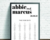 Printed or Digital Classic Modern Calligraphy Wedding Table Seating Plan A1 A2 A3 unframed Abbie 010TP FREE standard POSTAGE