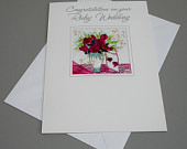 New Quality Embroidered Ruby Wedding Greeting Card Handmade FREE UK POSTAGE