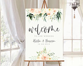 Printed or Digital Floral Wedding Welcome Sign A1 A2 A3 unframed Kristen 066TP FREE standard POSTAGE