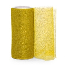 Gold Sparkling Tulle Roll - 6 X 25yd - Fabric - Width: 6 by Paper Mart