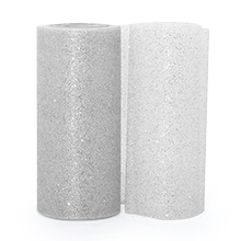 Silver Sparkling Tulle Roll - 6 X 25yd - Fabric - Width: 6 by Paper Mart