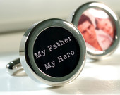 My Father My Hero Personalized Cufflinks for Father of the Bride or Groom Custom Wedding Gift