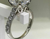 4Ct Cushion Cut Solitaire Moissanite Ring Engagement Ring 925 Sterling Silver