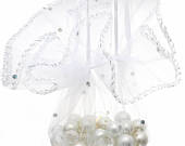 100 Luxury White Sparkly Round Gift Bags 26cm (10 Inches) Satin Ribbon Ideal For Wedding Favours, Bath Bombs, Confectionery WHOLESALE PACK