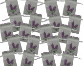 20 New Lavender Embroidered White Organza Semi Sheer Drawstring Ribbon Pull Lavender Wedding Favour Gift Bags ZL33