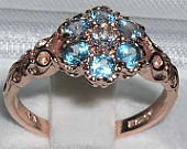 9K Rose Gold Blue Topaz with Diamond Cluster Daisy Pave Ring, English 7 Stone Engagement Ring Customizable