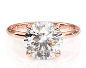 2.00ct Round Cut Moissanite Engagement Ring, Classic Design, Available in 14Kt or 18Kt Rose Gold