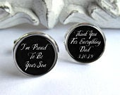 Father Of The Groom Gift From Son, Wedding Cufflinks, Personalized Gift For Dad