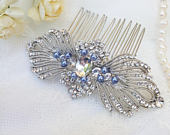 Big crystal hair comb with light blue pearls, Victorian silver hair comb, Vintage inspired blue wedding hair comb, blue pearl hair comb 23