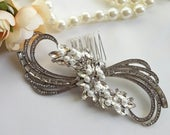 Big silver Hair Comb, Great Gatsby hair pin Flapper head piece Art Deco wedding hair comb Swirl hair clip Bridal hair clip with pearls