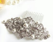 Silver crystal pearls Hair Comb, Edwardian Haircomb, vintage headpiece, Downton Abbey wedding hair comb, Pearl bridal comb 13