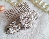 Crystal hair comb with white pearls, wedding pearl Hair Comb, crystal hair clip bridesmaid hair clip, shiny headpiece white pearl clip 45