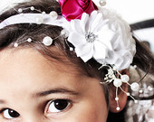 Pearl White Flower Headband With a Raspberry Pink Rose for Weddings, Luxury Bridesmaid Accessory in Size 5T to Adult