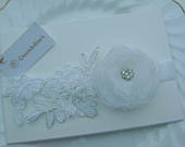 A Pretty White Wedding/Christening Headband Lace, Flower, Rhinestone