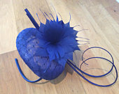 Stunning Royal Blue Pillbox Fascinator, hat, blue, wedding, royal, headband, flower, ladies, hair accessory, summer, races