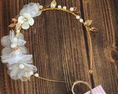 Wedding Hair Accessories, Floral Headband, Bridal Wreath, Bloomy Hairpiece, Pearl Accessories, Luxury Hair Jewelry, Bridesmaids Headpiece