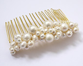 tumbling freshwater ivory pearl gold or silver hair comb pin for wedding or prom
