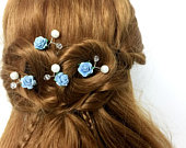Blue Rose Hair Pins, Wedding Hair Pins, Bridal Hair Accessories, Bridesmaid Hair Pins, Rose and Pearl Hair Pins, Something Blue