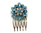 Vintage Blue Hair Comb, Something Blue For Bride, Vintage Wedding Hair Comb, Vintage Rhinestone Hair Comb, Antique Hair Comb 1950s Hair Comb