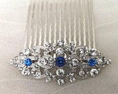 Aster Sapphire Blue Art Deco Vintage Style Crystal Bridal Hair Comb 1920s Wedding Prom Flapper Bridesmaid Something Blue