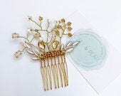 Classic Bridal hair comb, Gold hair adornment, Gold wedding hair comb, pink crystal and gold headpiece, classic bride, Prom