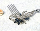 Wedding Hair Comb, Sapphire Crystal Bride headpiece, Vintage headpiece, rhinestone wedding hair comb, Sparkly bridal comb, floral hair comb