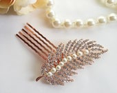 Rose gold feather Hair pin with pearls Rose gold pearl headpiece Feather rhinestone hair comb Rose gold blush crystal feather hair clip
