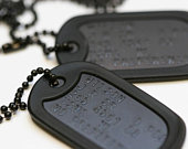 Black US Army Dog Tag ID Set , Personalised Embossed with Black Chain and Black Silencers. Available in a Single or Double Set