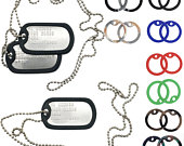 U.S. Spec Army Navy Military Dog Tag Necklace Embossed Personalised Stainless Steel Chain Silencer Included Made to order
