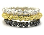 Raw texture ring band with silver peppercorns raw bespoke gold wedding ring stacking rings eternity ring