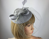 Grey Fascinator On Clip Gray Fascinator Hat Pillbox Wedding Mother of the Bride Ladies Day Ascot Races Hair Accessory Feather
