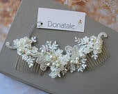Ivory Wedding Hair comb, Bridal Hair comb, Lace Headpiece, Bridesmaid Headpiece, Bridal Hair piece Wedding Hair Accessories Back headpiece