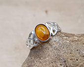 Celtic knot Amber Ring. Yellow 925 sterling silver rings for women. UK SIZE N. Reiki jewelry uk. Gift for her birthday, mom, sister, friend